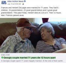 【海外発!Breaking News】結婚71年の夫婦、12時間差で亡くなる 「究極のラブストーリー」(米)<動画あり>