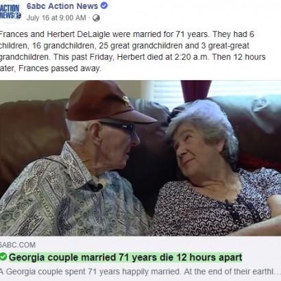 【海外発!Breaking News】結婚71年の夫婦、12時間差で亡くなる 「究極のラブストーリー」(米)