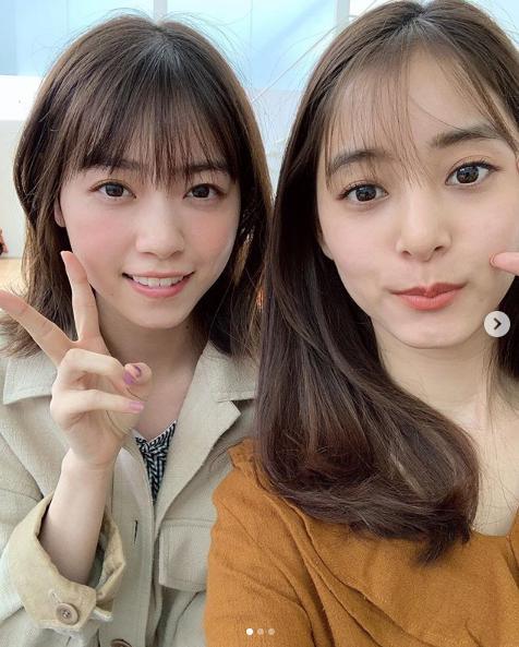 西野七瀬と新木優子(画像は『新木優子 2019年5月21日付Instagram「久しぶりのなぁちゃん」』のスクリーンショット)