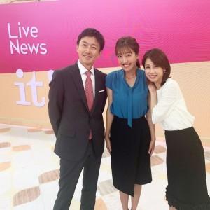 『Live News it!』のスタジオにて福原直英、小澤陽子、加藤綾子(画像は『加藤綾子 2019年7月1日付Instagram「今日から7月」』のスクリーンショット)