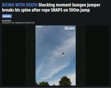 【海外発!Breaking News】バンジージャンプで足首の固定具外れ頭から落下(ポーランド)<動画あり>