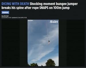 【海外発!Breaking News】バンジージャンプで足首の固定具外れ頭から落下(ポーランド)