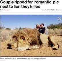 【海外発!Breaking News】射殺したライオンのそばでキス 非難殺到も夫妻は「飼育された動物を殺して何が悪い」(南ア)