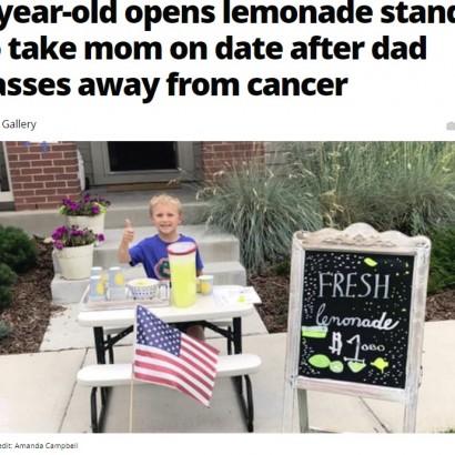 【海外発!Breaking News】「ママをデートに連れて行きたい」父親の亡き後、6歳男児がレモネードスタンドを開く(米)<動画あり>
