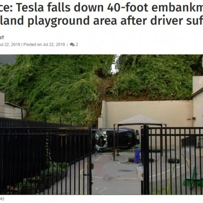 【海外発!Breaking News】12メートル下の保育園に車がダイブ 早朝で園児おらず「不幸中の幸い」(米)