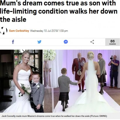 【海外発!Breaking News】心臓疾患を抱えた8歳児、両親の8年越しの結婚式でママをエスコート(スコットランド)