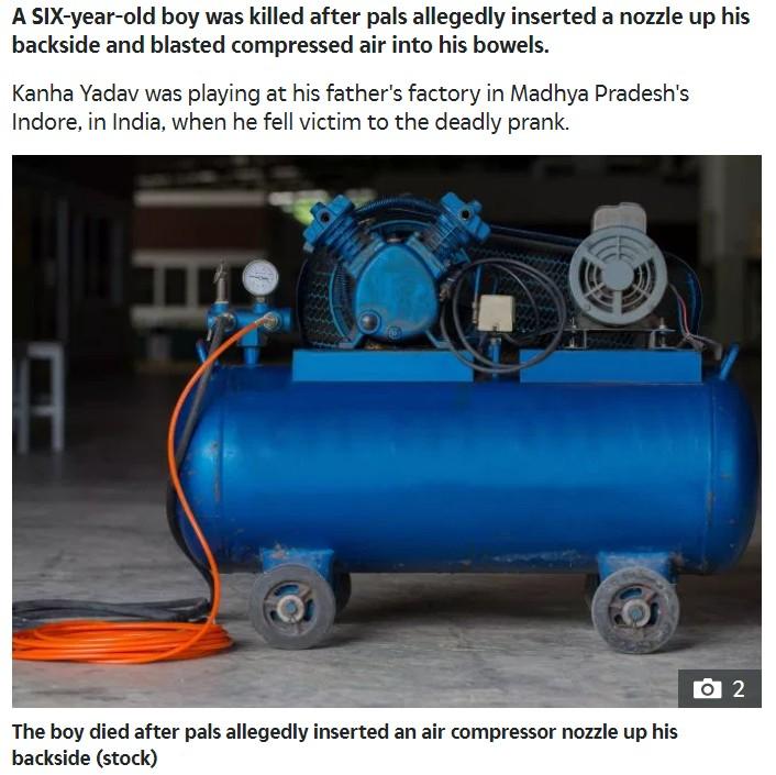 エアコンプレッサーで遊んでいた男児が死亡(画像は『The Sun 2019年7月29日付「HORRIFIC DEATH Boy, 6, killed after 'pals insert nozzle up his backside and blast compressed air up inside him'」(Stock)』のスクリーンショット)