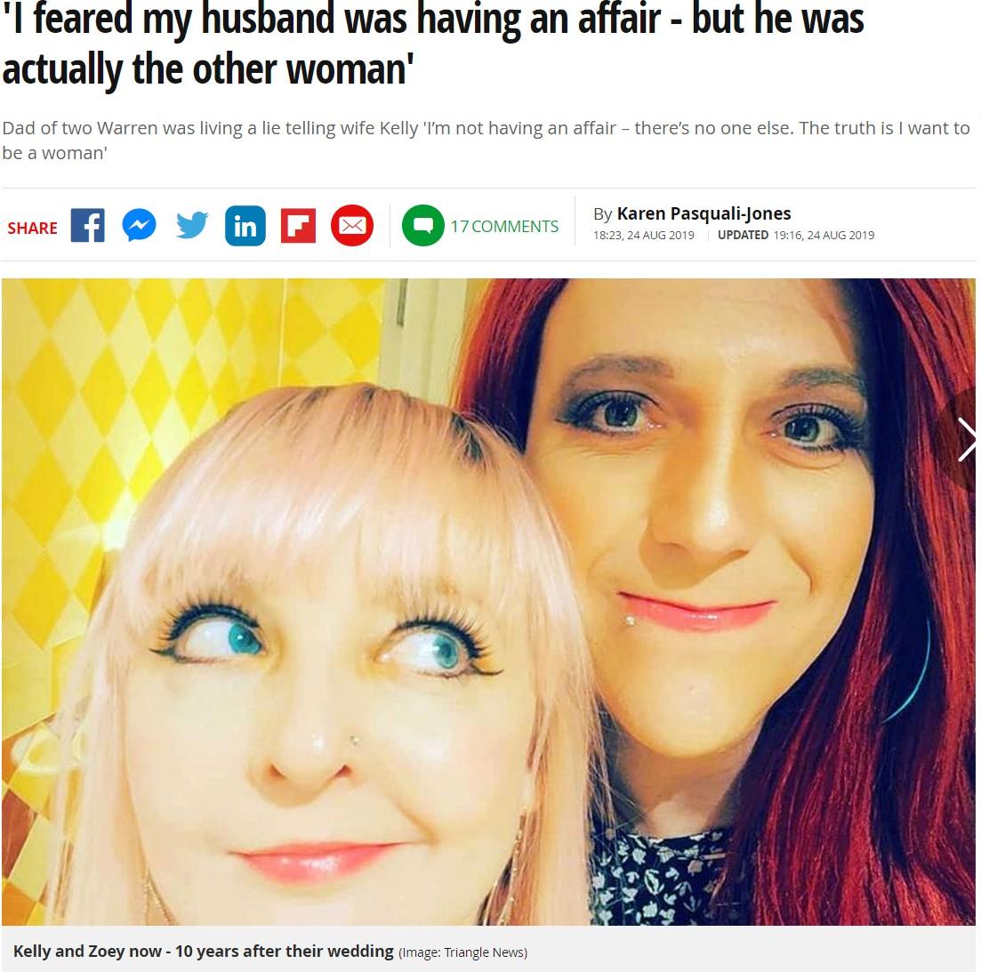 女性として生きることを決意した夫(右)と妻(画像は『2019年8月24日付 Mirror「'I feared my husband was having an affair - but he was actually the other woman'」(Image: Triangle News)』のスクリーンショット)