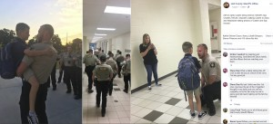 ケイデン君にハグし、エスコートする保安官ら(画像は『Hall County Sheriff's Office 2019年8月7日付Facebook「Hall County Sheriff's Deputies joined Caden Dixon and his mother Stephanie this morning as Caden began the new school year as a fourth-grader.」』のスクリーンショット)