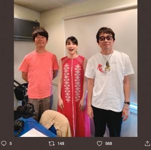 桜井秀俊、のん、YO-KING(画像は『のん official 2019年8月21日付Twitter「先取り!ラジオ出演情報」』のスクリーンショット)