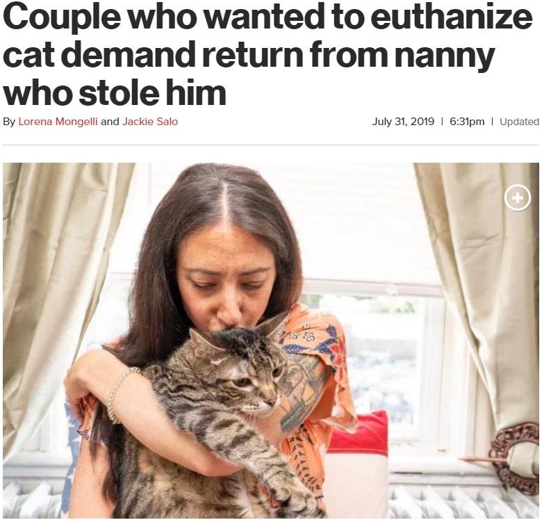「安楽死」を口にする飼い主からの猫を連れ去った女性(画像は『New York Post 2019年7月31日付「Couple who wanted to euthanize cat demand return from nanny who stole him」(Dennis A. Clark)』のスクリーンショット)