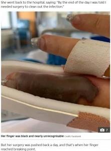 重度の感染症で手術する羽目に…(画像は『The Sun 2019年8月5日付「BUMPY RIDE Woman nearly lost her finger when a little red bump turned into a flesh-rotting infection after a trip to the nail salon」(Credit: FACEBOOK)』のスクリーンショット)