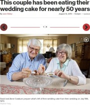【海外発!Breaking News】49年前のウェディングケーキを冷凍し、結婚記念日に食べ続ける夫婦(米)