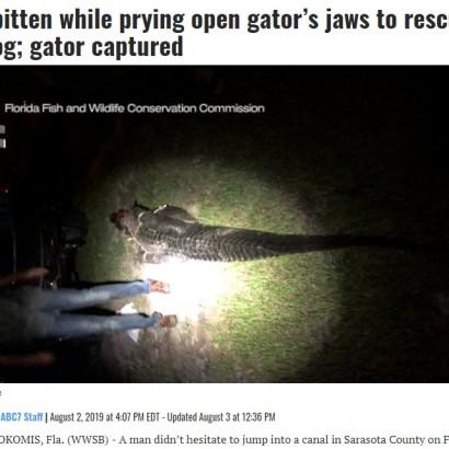 【海外発!Breaking News】体長3メートルのワニの顎をこじ開け愛犬を救出した飼い主(米)