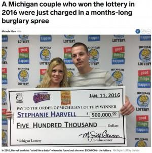 【海外発!Breaking News】「宝くじの呪い」3年前に大金を当てた夫婦が窃盗容疑で逮捕(米)