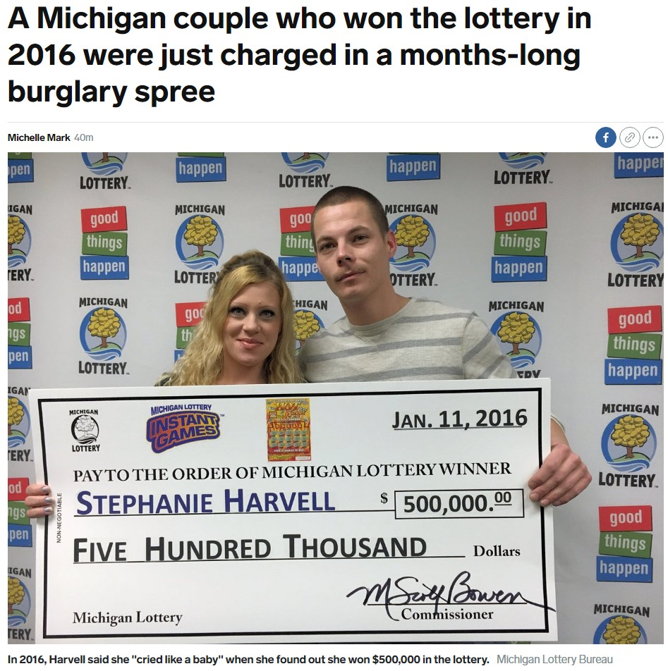 3年前に宝くじで大金を手にした夫婦、今は刑務所へ(画像は『INSIDER 2019年9月4日付「A Michigan couple who won the lottery in 2016 were just charged in a months-long burglary spree」(Michigan Lottery Bureau)』のスクリーンショット)