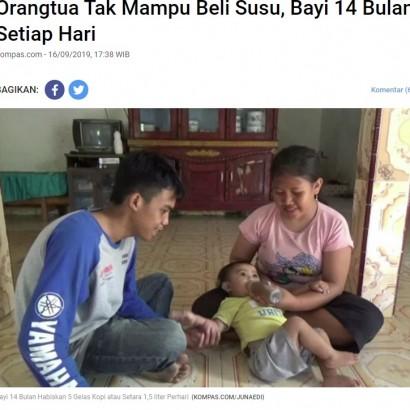 【海外発!Breaking News】「ミルクが買えないから」1歳児に一日1.5リットルのコーヒーを与える両親(インドネシア)