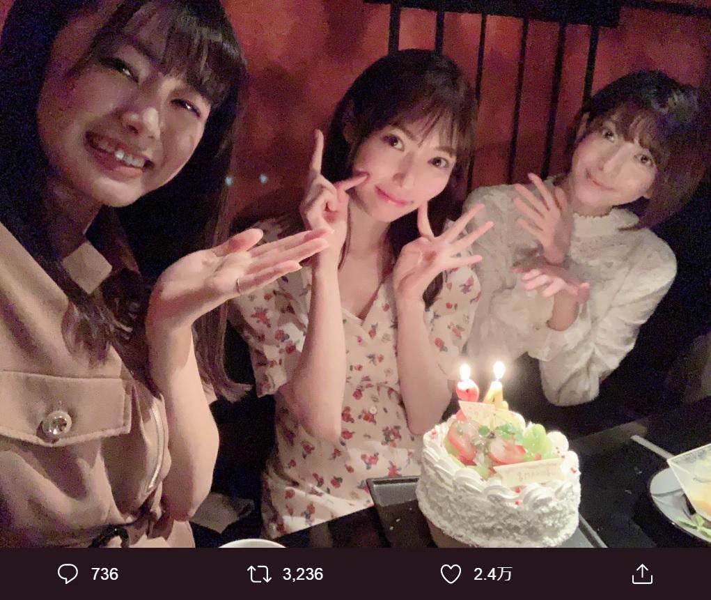 長谷川玲奈、山口真帆、菅原りこ(画像は『山口真帆 2019年9月21日付Twitter「先日、親友に誕生日のお祝いをしてもらいました」』のスクリーンショット)