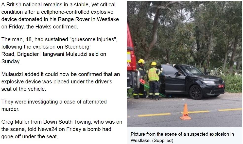 レッカー業者や爆発処理班らが現場に急行(画像は『News24 2019年9月1日付「Hawks probe cellphone-controlled car bomb that left UK man with 'gruesome' injuries」(Supplied)』のスクリーンショット)