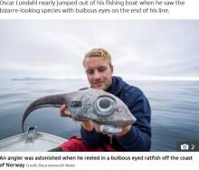 【海外発!Breaking News】エイリアン? 生きた化石? 巨大目の魚が釣り上げられる(ノルウェー)
