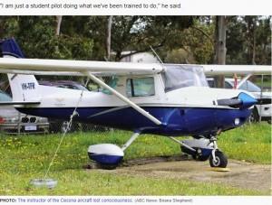 マックスさんが操縦していたセスナ機(画像は『ABC News 2019年9月2日付「Emergency landing pilot Max Sylvester says 'study' saved his life after instructor collapsed」(ABC News: Briana Shepherd)』のスクリーンショット)