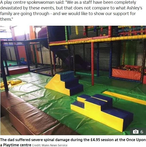 事故があった英サウス・ウェールズのプレイルーム(画像は『The Sun 2019年9月13日付「FREAK ACCIDENT Fun-loving dad, 31, left paralysed after banging his head at soft play centre」(Credit: Wales News Service)』のスクリーンショット)