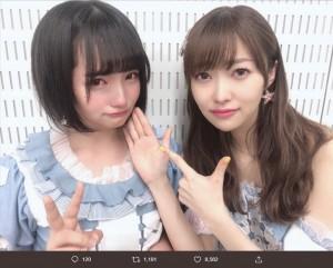 矢作萌夏と指原莉乃(画像は『矢作萌夏 2019年4月28日付Twitter「世界でいちばん可愛い  指原莉乃さん、ご卒業おめでとうございます」』のスクリーンショット)
