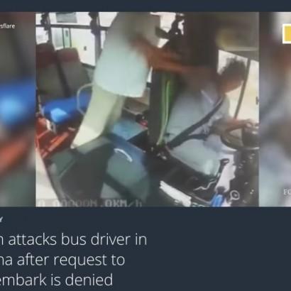 【海外発!Breaking News】バス乗客が運転手に暴行 「停留所の手前で降ろして」を断られて(中国)<動画あり>