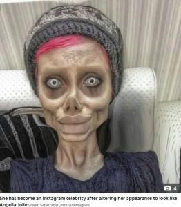「ゾンビのようなアンジェリーナ・ジョリー」と話題になったサハルさん(画像は『The Sun 2019年10月7日付「BEHIND BARS Creepy Angelina Jolie 'lookalike' Sahar Tabar, 22, faces YEARS in Iranian hellhole prison after blasphemy arrest」(Credit: Sahartabar_official/Instagram)』のスクリーンショット)