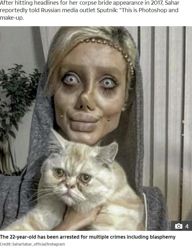フォトショップ加工やメイクで不気味に変身する女性が「神を冒涜」と逮捕(画像は『The Sun 2019年10月7日付「BEHIND BARS Creepy Angelina Jolie 'lookalike' Sahar Tabar, 22, faces YEARS in Iranian hellhole prison after blasphemy arrest」(Credit: Sahartabar_official/Instagram)』のスクリーンショット)