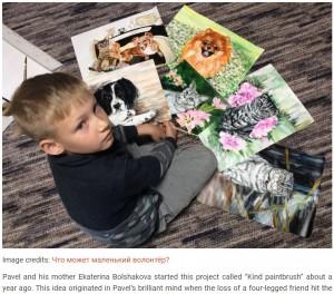 """【海外発!Breaking News】アニマルシェルターへ寄付するために絵を描く9歳の""""芸術家""""(露)"""