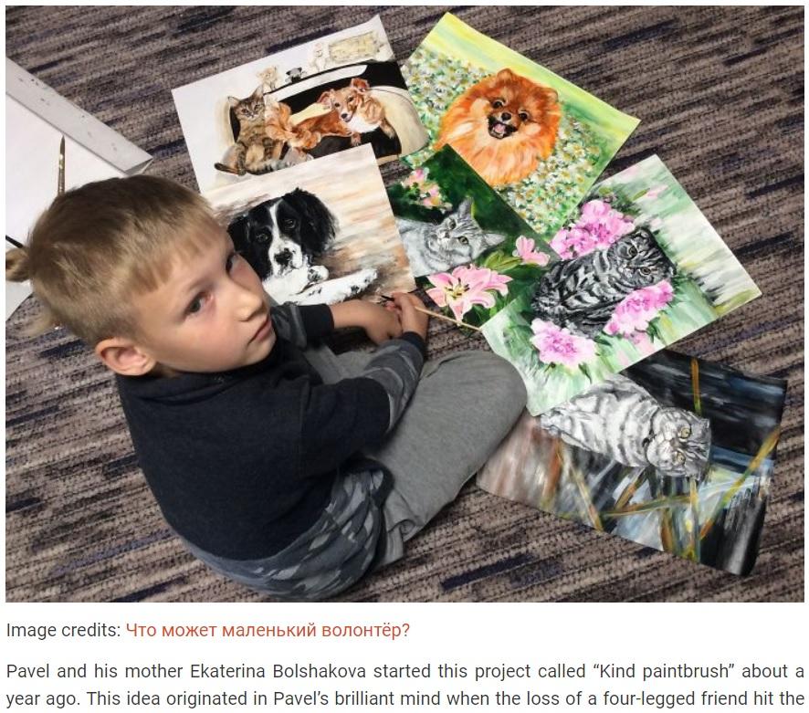 これまでに描いた数々の動物の絵を披露する少年(画像は『Bored Panda 2019年10月19日付「This 9-Year-Old Russian Boy 'Sells' His Custom Pet Paintings For Food And Supplies For Shelter Animals」(Image credits: Что может маленький волонтёр?)』のスクリーンショット)