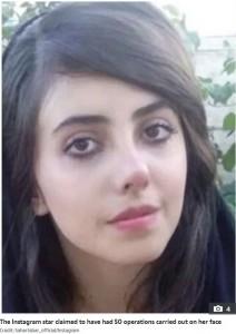 フォトショップ加工なしのサハルさん(画像は『The Sun 2019年10月7日付「BEHIND BARS Creepy Angelina Jolie 'lookalike' Sahar Tabar, 22, faces YEARS in Iranian hellhole prison after blasphemy arrest」(Credit: Sahartabar_official/Instagram)』のスクリーンショット)