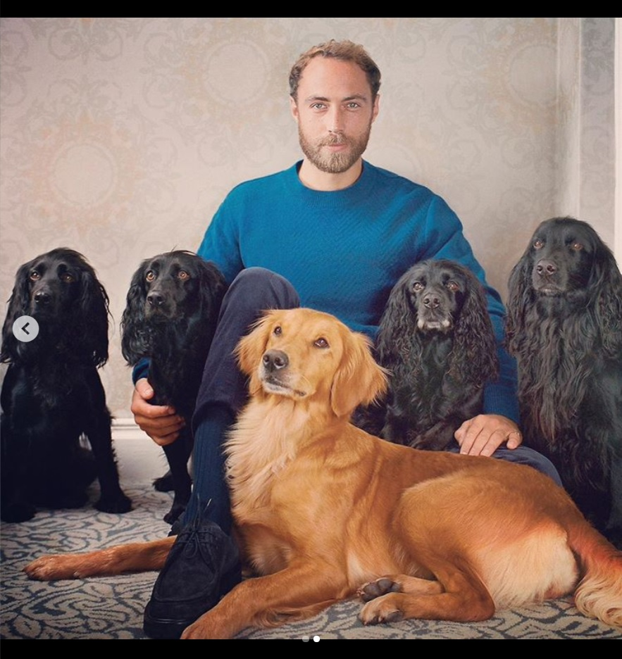 5匹の愛犬とジェームズ・ミドルトンさん(画像は『James Middleton 2019年10月12日付Instagram「I speak out about my depression in the hope it resonates with someone who might be struggling.」』のスクリーンショット)