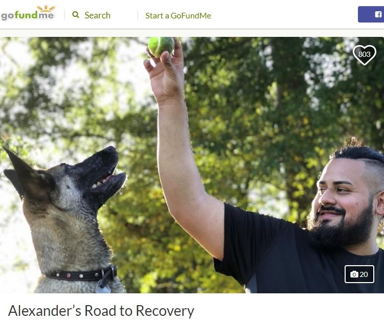 犬の散歩中に雷の直撃を受けた男性(画像は『GoFoudMe 2019年10月4日付「Alexander's Road to Recovery」』のスクリーンショット)