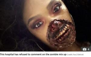 ゾンビのメイクをしたジェイ・フィアースさん(画像は『The Sun 2019年10月3日付「WALK-IN DEAD Dancer's zombie Halloween makeup so realistic she 'sparked full hospital emergency when doctors thought she was horrifically injured'」(Credit: Fox 2 Detroit)』のスクリーンショット)