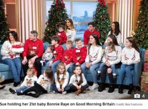 【海外発!Breaking News】イギリスの大家族、20人目で「最後」のはずが…母は22人目を妊娠中<動画あり>