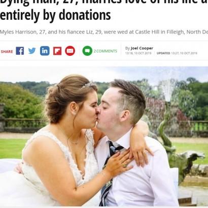 【海外発!Breaking News】脳腫瘍の27歳男性、ホスピス入所後に結婚式 全てが寄付で(英)