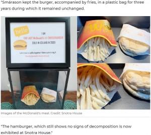 【海外発!Breaking News】10年前のマクドナルドのチーズバーガー&ポテト「カビもなく腐ってもいない」(アイスランド)