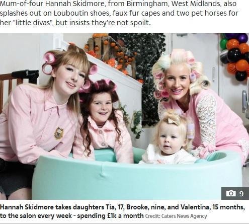 美容に月約17万円超をかける家族(画像は『The Sun 2019年11月1日付「MUM-BELIEVABLE Mum splashes £1k on facials and manicures for her kids every month – and even her nine-month-old gets in on the action」(Credit: Caters News Agency)』のスクリーンショット)