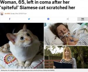 【海外発!Breaking News】ネコに引っ掻かれた女性、感染症で死の淵をさまよう(英)