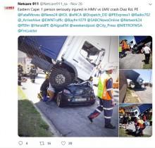 【海外発!Breaking News】車ごとトラックの下敷きになってしまった運転手、励まし続けた男性に「あなたは私の天使」(南ア)