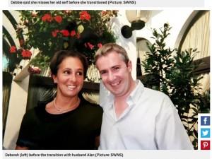 男性になる前のデビーさん(左)と夫のアランさん(右)(画像は『Metro 2019年11月29日付「Woman who transitioned to man starts treatment to be female again」(Picture: SWNS)』のスクリーンショット)