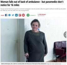 【海外発!Breaking News】走行中の救急車から路上に放り出された患者、25キロ先で救急隊員が気づく(露)