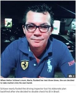母親の代わりに試験を受けたヘイターの素顔(画像は『The Sun 2019年12月13日付「DOPPELCLANGER Loving son busted for dressing up as his mum in bizarre bid to help her pass driving test she'd failed three times」』のスクリーンショット)