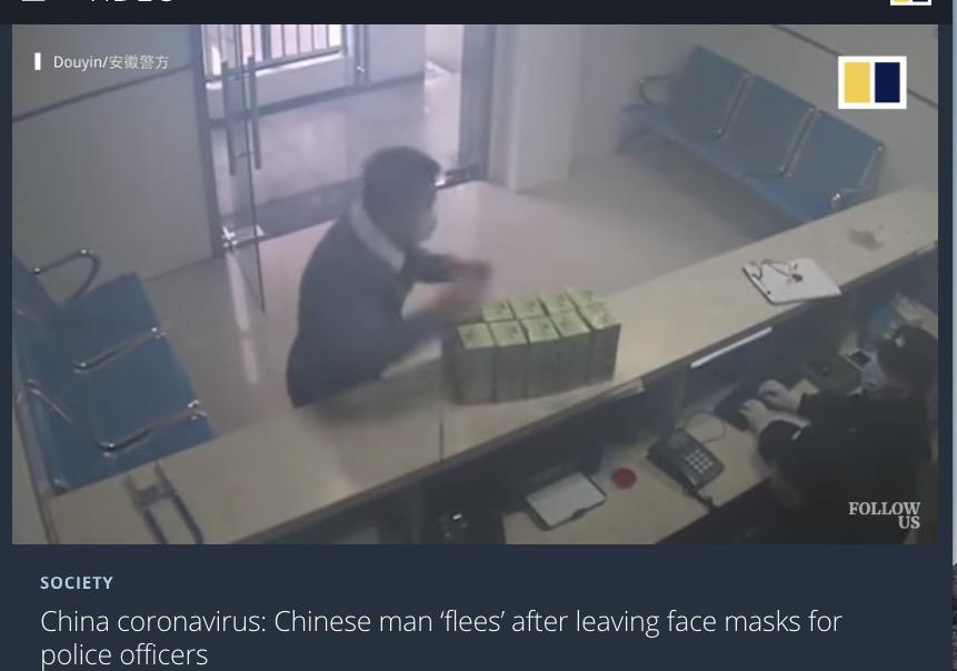 警察署にマスクを寄付して立ち去った男性(画像は『South China Morning Post 2020年1月30日付「China coronavirus: Chinese man 'flees' after leaving face masks for police officers」』のスクリーンショット)
