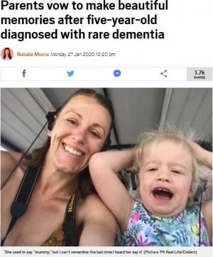 【海外発!Breaking News】幼児性認知症を患う5歳娘の母「家族のことを忘れてしまう前にたくさんの思い出を作りたい」(英)