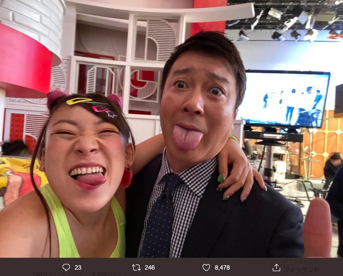 フワちゃんと加藤浩次、放送後は意気投合!?(画像は『フワちゃん FUWA 2020年1月7日付Twitter「最高の1日のはじまりや」』のスクリーンショット)