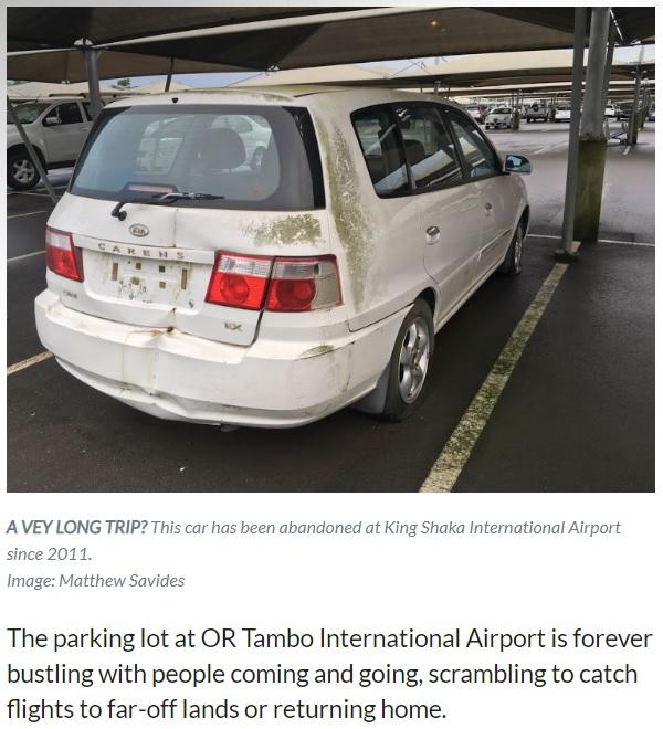 放置されたままの1台、2011年から運転手現れず(画像は『TimesLIVE 2020年1月16日付「Bakkie to the future: it's been 15 years so please collect your car」(Image: Matthew Savides)』のスクリーンショット)