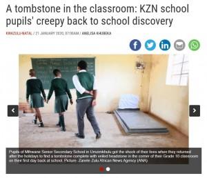 【海外発!Breaking News】教室の片隅に墓石 新学期明けに登校した生徒ら仰天(南ア)